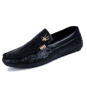 Harga ZNPNXN Leather Men's Loafers Shoes (Black)