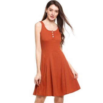 Harga Women Casual Sleeveless Solid O Neck Cami High Waist Mini Dress Orange - intl