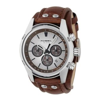 Fossil Watch Coachman Chronograph Brown Stainless-Steel Case Leather Strap Mens NWT + Warranty CH2565