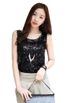 Harga Azone Girl's Fashion Bling Vest Sequin Sleeveless Tank Top (Black)