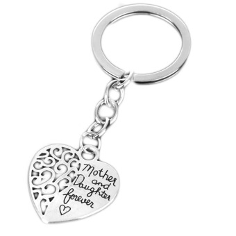 Harga Hequ Hot Sale Mother Daughter Eternal Love Heart Keychain Family Gifts Silver - intl