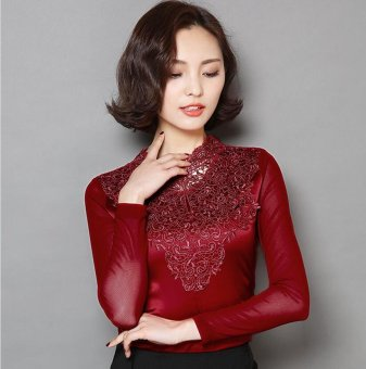 Harga blusas women blouses shirts long-sleeved silk lace blouse vintage crochet shirt ladies tops vetement femme - intl