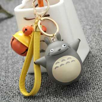Harga Cartoon metal Bell leather cord chinchillas doll key buckle cartoon bag vinyl pendant(buy two to send) (Single totoro)