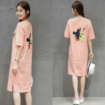 Women's loose-fitting casual short-sleeve maxi dress