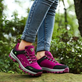 Harga KAILIJIE Women's Suede Leather Outdoor Walking Shoes (Purple) - Intl