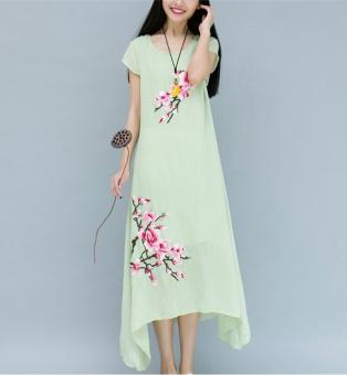 Harga Women's Korean-style loose-fitting cotton linen mid-long A-line swing dress
