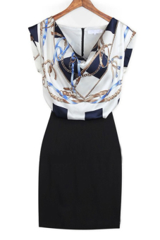 Harga O-Neck Patchwork (Dress Blue)