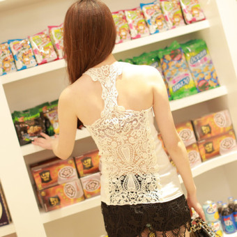 Harga new lace crochet back hollow word vest female bottoming vest halter top