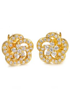 Harga Olen 18K Gold Plated Flower Earrings Gold