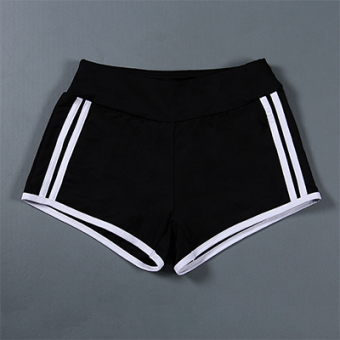 Harga Yoga fitness running clothes sports shorts female quick-drying breathable hit the color Anti-emptied fake two-piece Slimming effect shorts (1. white parallel bars shorts)