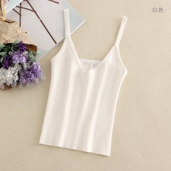 Off with a vest female 2017 new summer short paragraph midriff halter top backless sexy tight thin wild bottoming shirt (White)