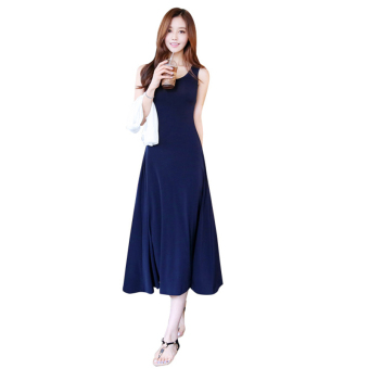 Harga High waist sleeveless solid color vest dress