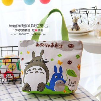 Harga Wholesale cute cartoon melody lazy egg canvas bag shoulder bag female bag portable small bag lunch box lunch bag (Small totoro)