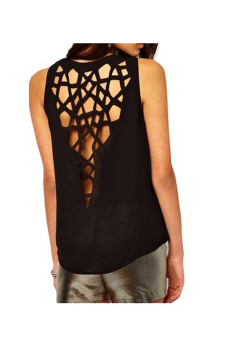 Harga Open Back Hollow Cut Top Black