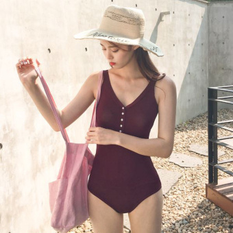 Harga Korea purchasing temperament piece swimsuit female button was thin chest intellectual swimwear Burgundy color (Red wine)