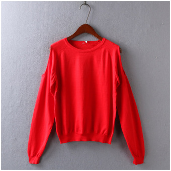 Harga Spring and Autumn solid color simple long-sleeved off-the-shoulder sleeve head bottoming sweater female wild E @27-882-4-A warehouse (Red sweater)