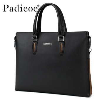 Padieoe Fashion Men's Bag Business Men Briefcase PU Leather High Capacity Laptop Bag Male Youth Bag Tote Handbags 14.9inch Black - intl