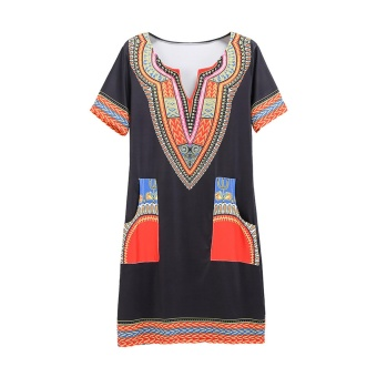 Harga Dashiki dress Summer African Print Shirt Dresses Femme Vintage Mini hippie Plus Size Boho Women Casual Clothing - intl
