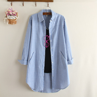 Harga Was high Linen long section Slimming effect large version shirt