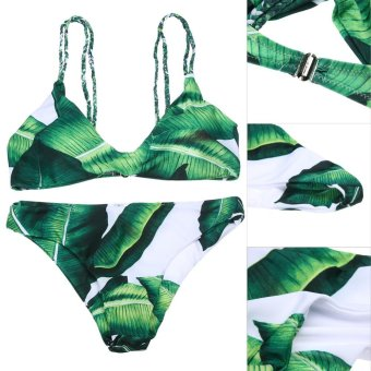 European Fashion Leaves Print Padded Two Piece Swimsuit - intl - 2