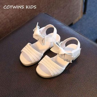Harga CCTWINS KIDS 2017 Summer Children Fashion White Flat Baby Girl Bow Shoe Brand Beach Toddler Rhinestones Pu Leather Sandals B916 - intl