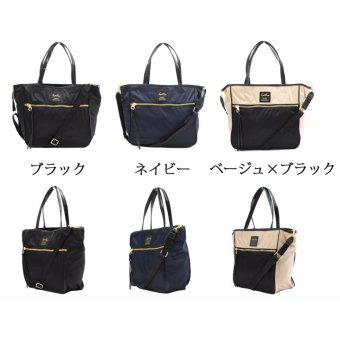 [Anello x Legato Largo] 10 pockets 2 way nylon shoulder bag with sling strap (Large size,Navy) - 3