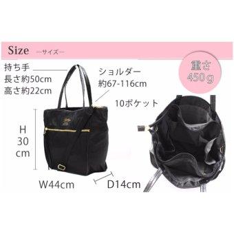 [Anello x Legato Largo] 10 pockets 2 way nylon shoulder bag with sling strap (Large size,Navy) - 5