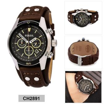 Fossil Watch Coachman Chronograph Brown Stainless-Steel Case Leather Strap Mens NWT + Warranty CH2891