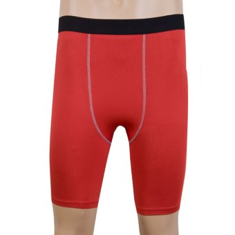 Harga Mens Sports Shorts Workout Clothes Tight Compression Gym Running Shorts Red