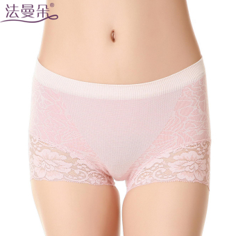 Harga Farman flower panties female modal seamless lace sexy ladies underwear waist boxer briefs (Watermelon red)