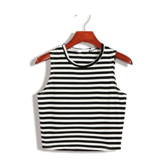 Harness vest female short paragraph korean version of the summer wild slim was thin outer wear cotton short paragraph lo shi bottoming shirt sexy (Stripes)