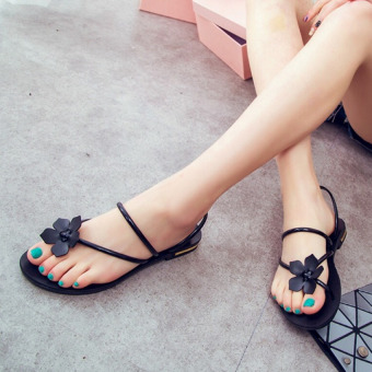 Harga Pudding The new sweet sandals toe sandals Black - intl