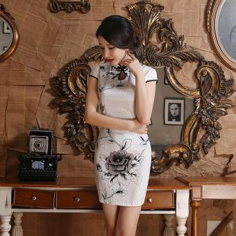 Harga Women Fashion Summer Fashion Silm Chinese Wind Charming Cheongsam (White) - intl