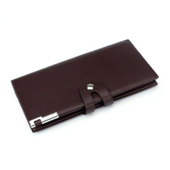 Harga Men Long Section Button Bifold Business Leather Wallet Card Coin Wallet Purse Coffee - intl
