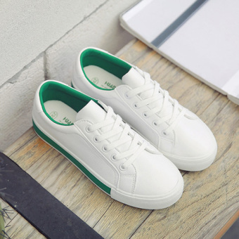 Harga Universal 2017 spring and summer New style wild white shoes female Korean-style flat student shoes white casual canvas shoes (White and green)