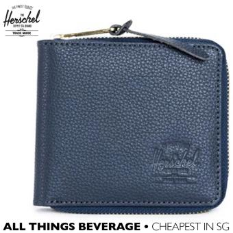 Harga Herschel Supply Co Brand Walt Leather Zip Around Wallet Navy (Cheapest in SG)
