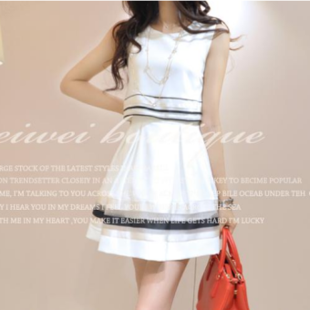 Harga Korean-style student fake two-piece suit dress