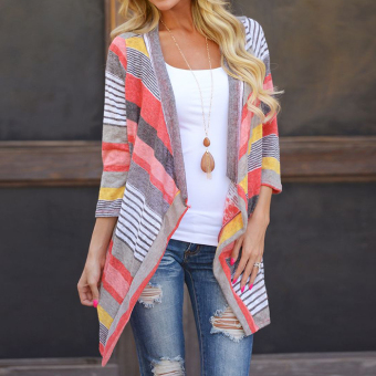 Outwear Knitted Stripe tops Long Sleeve Cardigan (Red) - intl