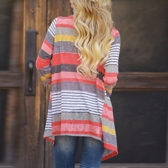 Outwear Knitted Stripe tops Long Sleeve Cardigan (Red) - intl - 3