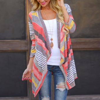 Outwear Knitted Stripe tops Long Sleeve Cardigan (Red) - intl - 2