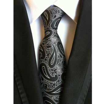 Men's Jacquard Silk Slim Plain Tie Black - intl