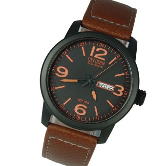Harga Citizen BM8475-26E Eco-Drive Military Sport Brown Leather Watch BM8475-26