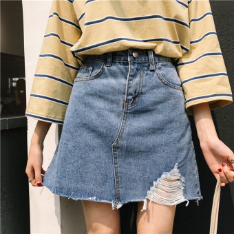 Harga Women's Korean-style ripped denim high-waisted A-line skirt