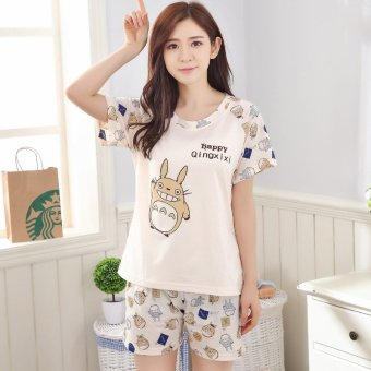 Harga New summer sleepwear female pure cotton short sleeve summer thin female models korean version of the cute cartoon casual tracksuit suit (Women short sleeve totoro paragraph beige)