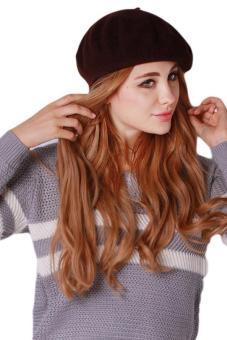 Hang Qiao Women Beret Cap Vintage Solid Color Beanie Hat Classic Berets Brown .
