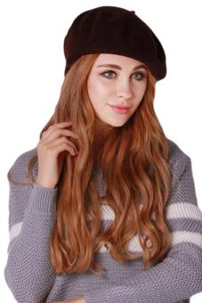 Hang Qiao Women Beret Cap Vintage Solid Color Beanie Hat Classic Berets Brown 3