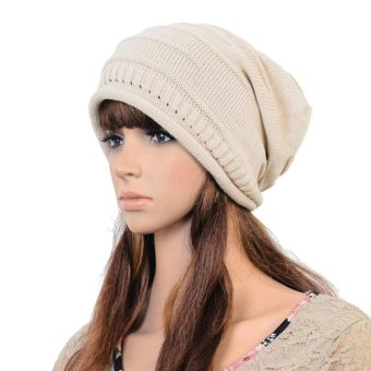 Women Men Warm Ski Knitted Crochet Baggy Beanie Hat Cap Beret Beige - intl
