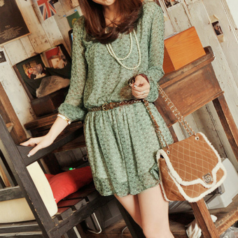 Harga Hequ Wave Point Long sleeve Chiffon Dress With Belt (Green)