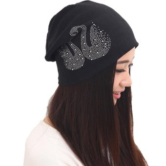 Harga Fashion Diamond Duck Hedging Cap Fashon Woman Piles Hat Hip-Hop Hat(Black) - intl