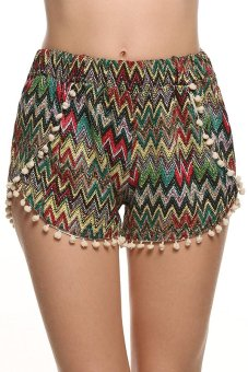 "Harga ""Astar Women Casual Loose Print Tassel Mini Sport Beach Shorts ("